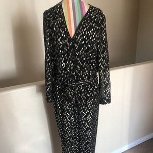 Kate Spade Metallic clipped Dot  jumpsuit size 12
